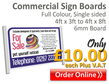 Commercial boards, 3ftx4ft to 8ft x4ft